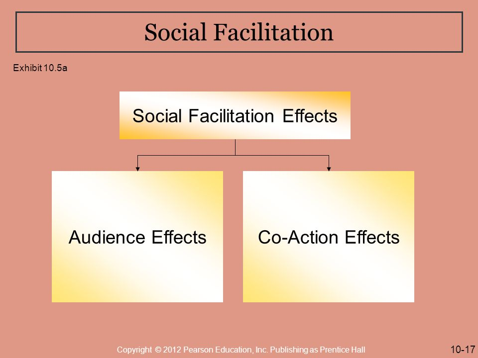 Social Facilitation Social Facilitation Effects Audience EffectsCo-Action Effects 10-17 Copyright © 2012 Pearson Education, Inc.
