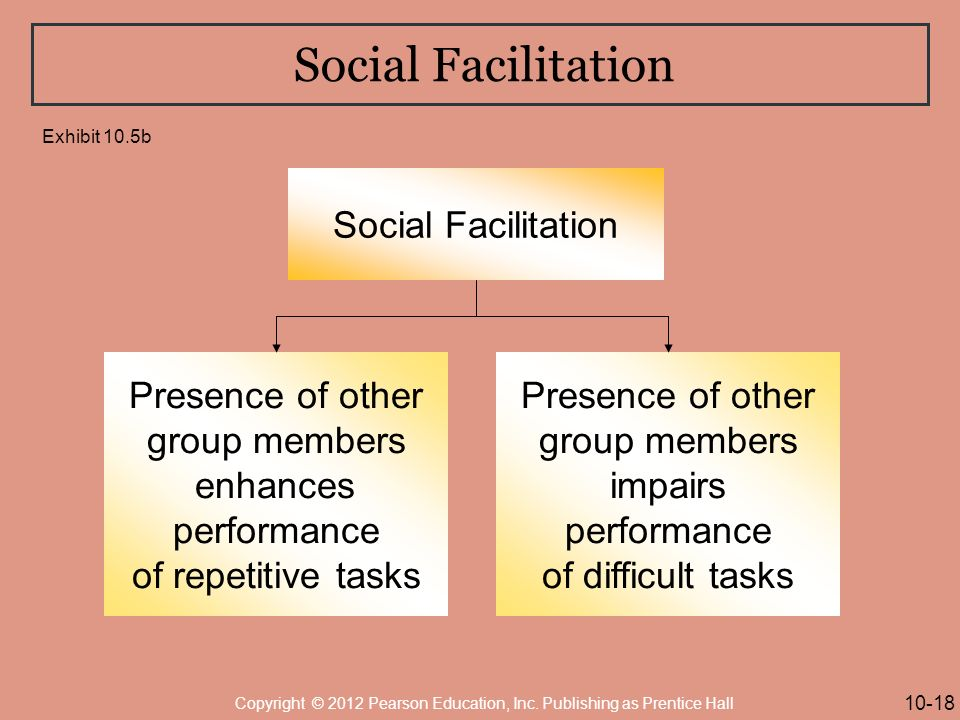 Social Facilitation Presence of other group members enhances performance of repetitive tasks Presence of other group members impairs performance of difficult tasks 10-18 Copyright © 2012 Pearson Education, Inc.