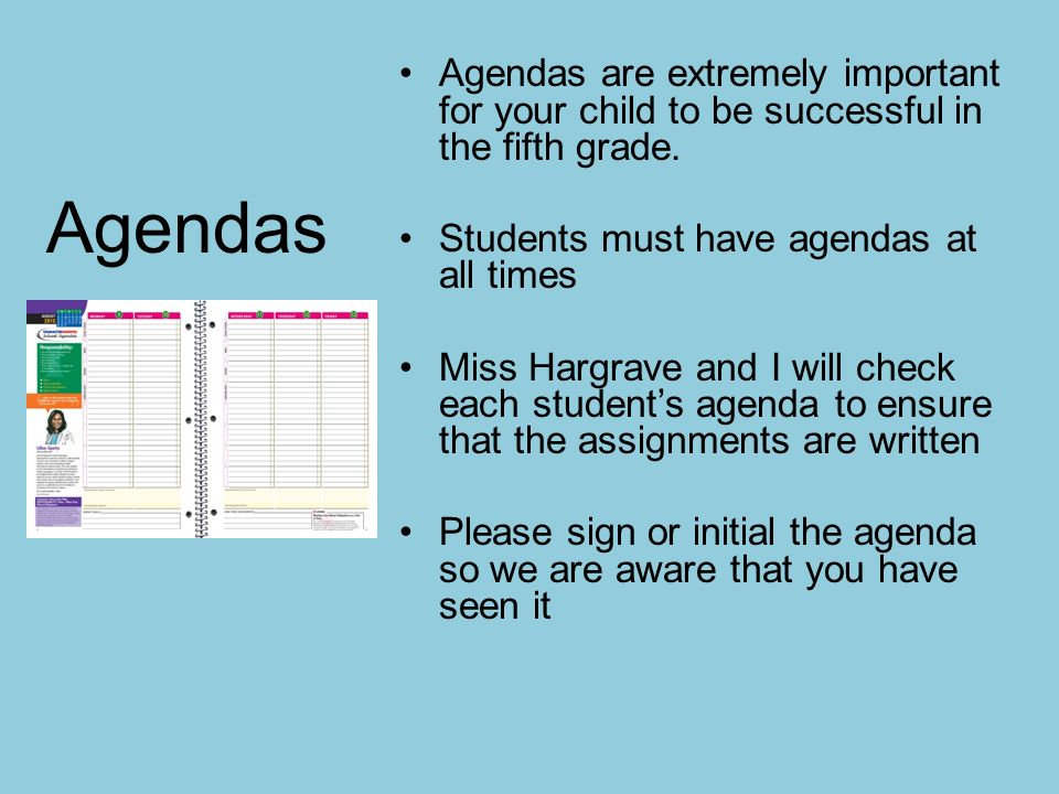 agendas with times