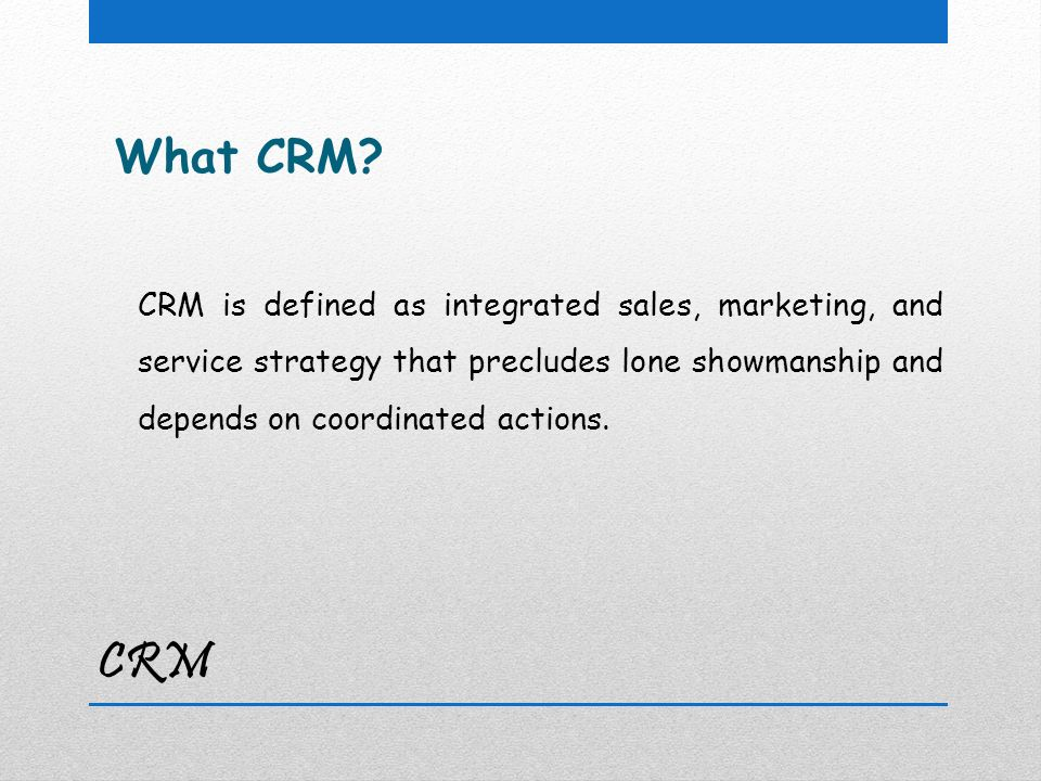 CRM What CRM.