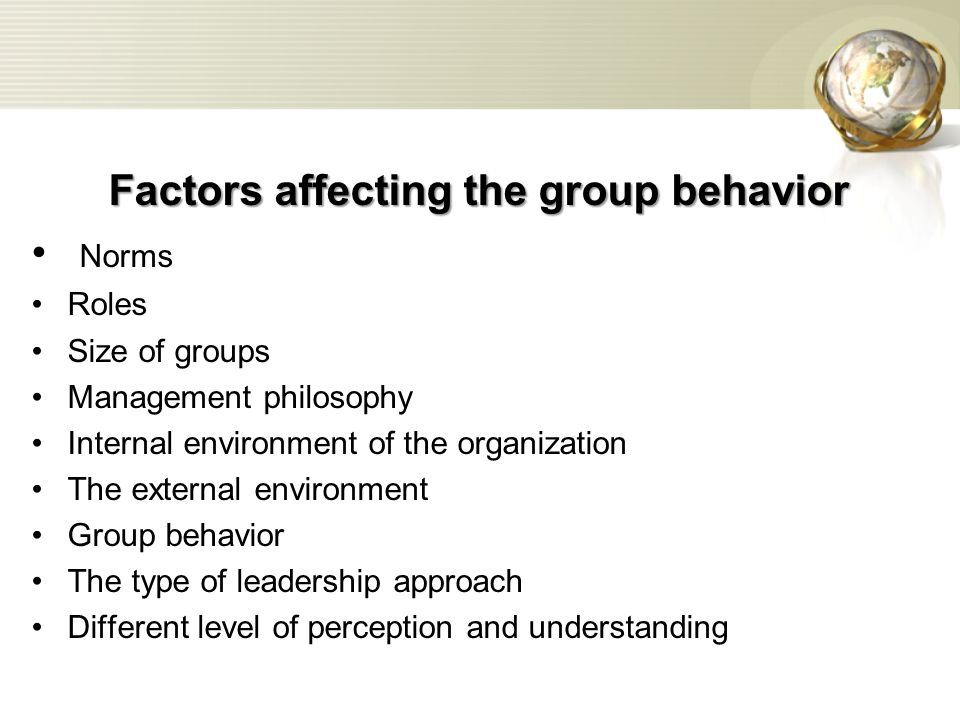 Factors affecting the group behavior Norms Roles Size of groups Management philosophy Internal environment of the organization The external environment Group behavior The type of leadership approach Different level of perception and understanding