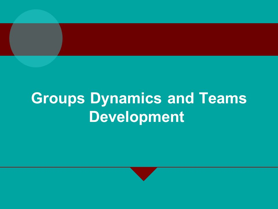 Groups Dynamics and Teams Development