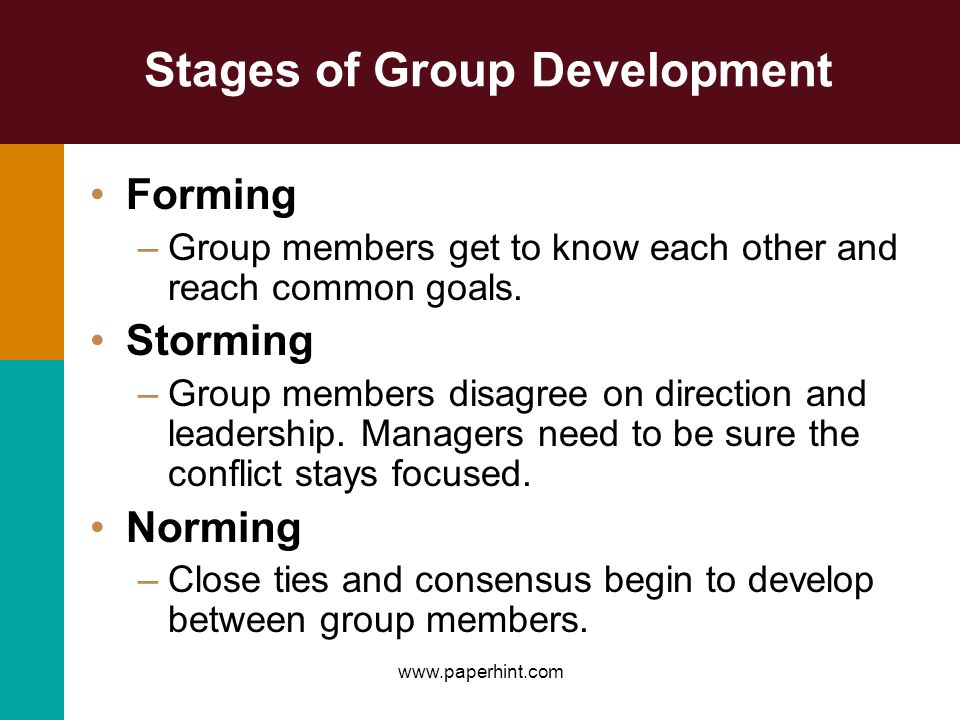 Stages of Group Development Forming –Group members get to know each other and reach common goals. Storming –Group members disagree on direction and le