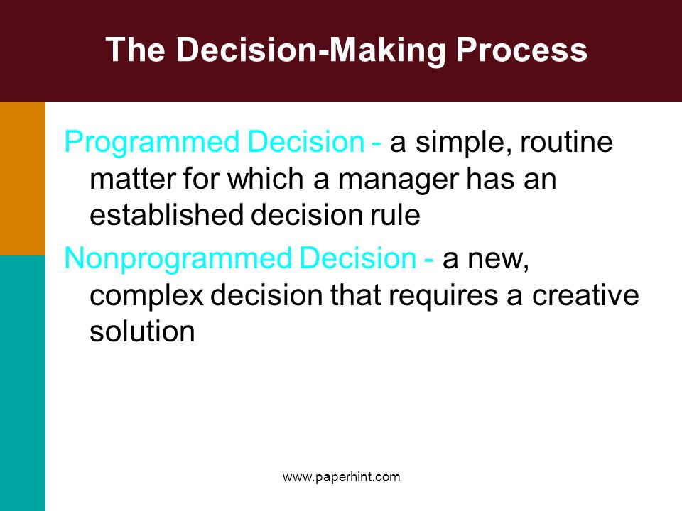 The Decision-Making Process Programmed Decision - a simple, routine matter for which a manager has an established decision rule Nonprogrammed Decision