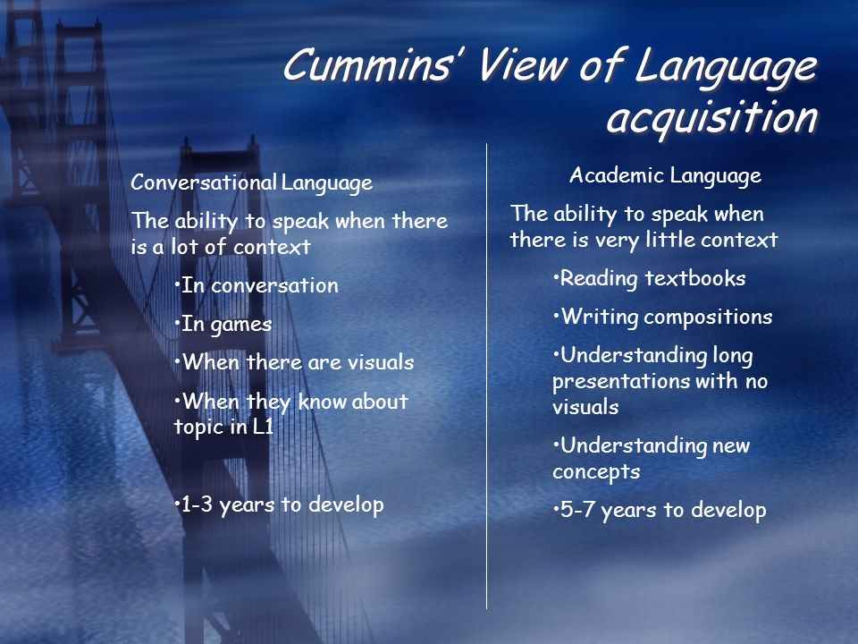 Cummins' View of Language acquisition Conversational Language The ability to speak when there is a lot of context In conversation In games When there are visuals When they know about topic in L1 1-3 years to develop Academic Language The ability to speak when there is very little context Reading textbooks Writing compositions Understanding long presentations with no visuals Understanding new concepts 5-7 years to develop