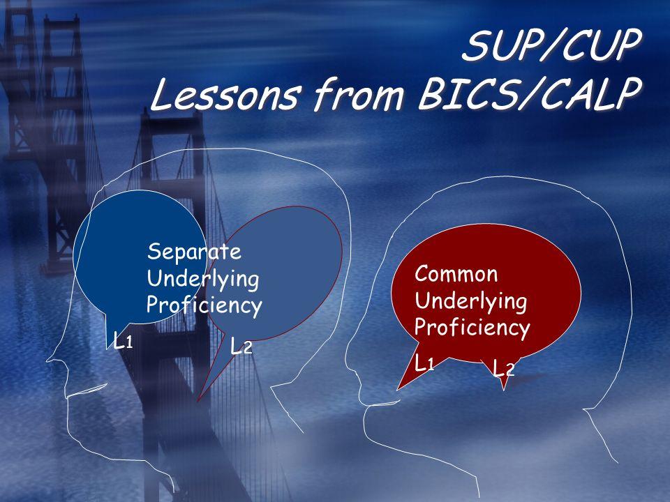 SUP/CUP Lessons from BICS/CALP Separate Underlying Proficiency Common Underlying Proficiency L1L1 L2L2 L1L1 L2L2