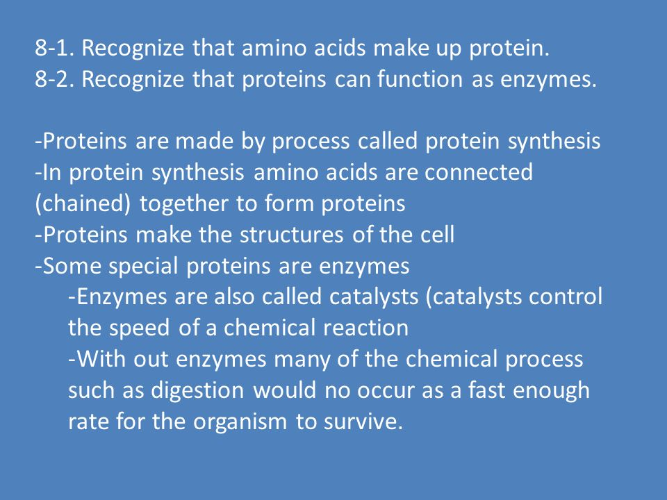CONTENT STANDARD 8. Identify the structure and function of DNA, RNA, and protein.