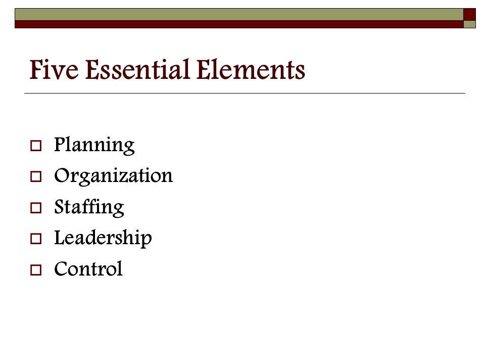 Five Essential Elements  Planning  Organization  Staffing  Leadership  Control