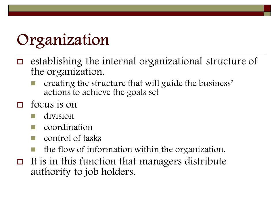 Organization  establishing the internal organizational structure of the organization.