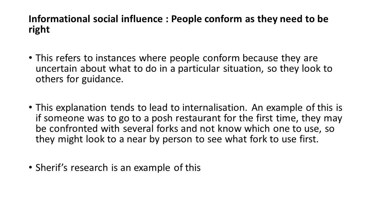 an explanation of conformity in the study of social influence Social influence context -an explanation of conformity that says we agree with the opinion what were the results of zimbardo's study into conformity to.