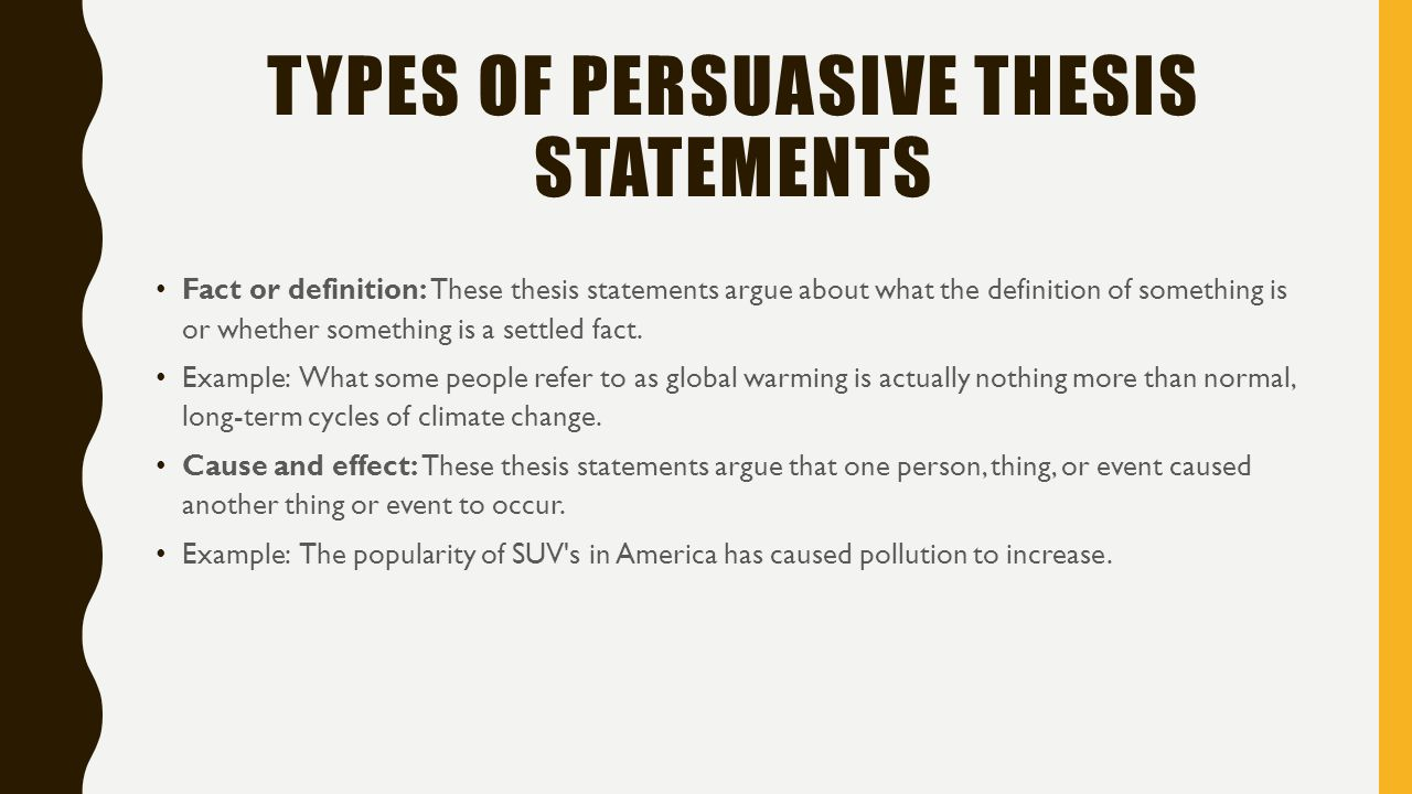 Thesis Statement For A Persuasive Speech