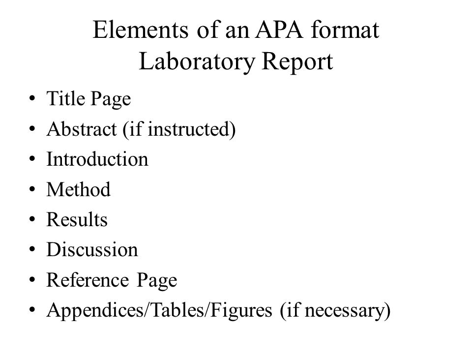 apa style lab report