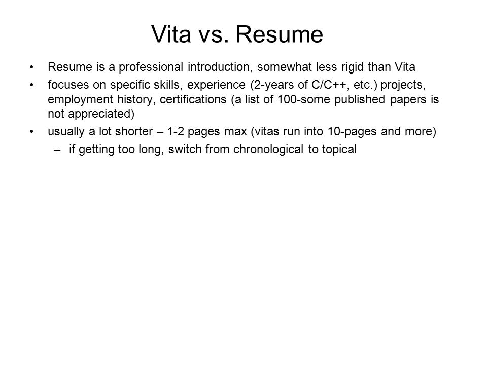 preparing curriculum vita what is curriculum vita summary of