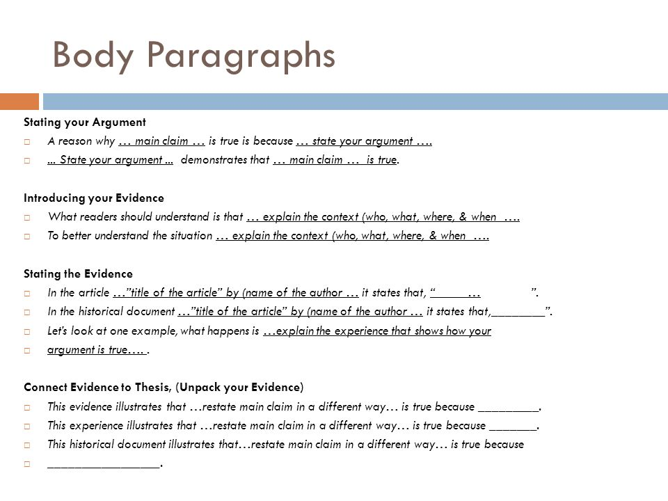 Essay Body Structure Example