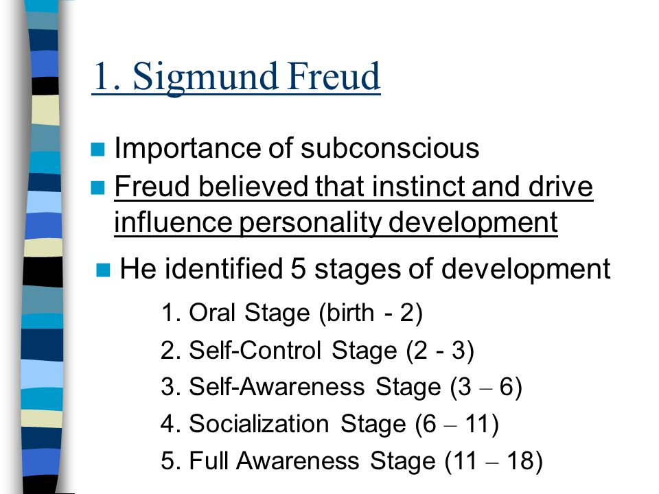 1. Sigmund Freud Importance of subconscious Freud believed that instinct and drive influence personality development He identified 5 stages of develop