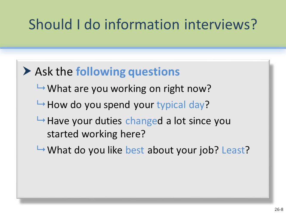 8 should - Do You Like Your Job What Do You Like About Your Job Or Least Like