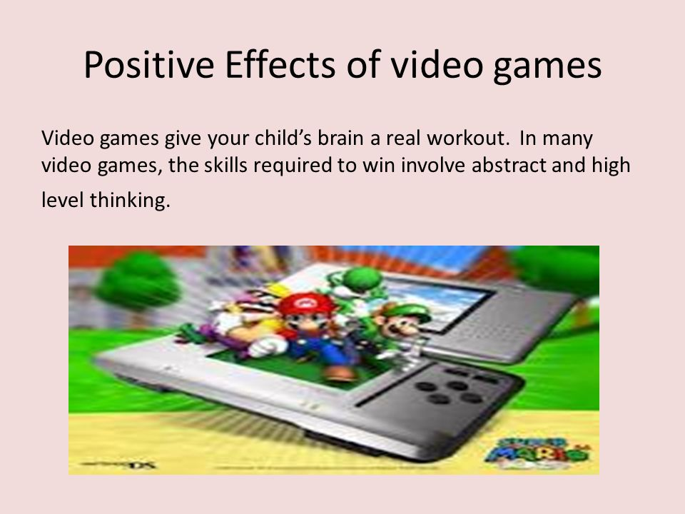 positive effects of video games essay Negative effects of video games on teenagers: 1 increases aggressive behavior: video games with violent content can lead to aggressive behavior in teens it can also desensitize them to violence studies have shown that teens who like playing first-person shooter style games are likely to adopt a detached view of the society they also.