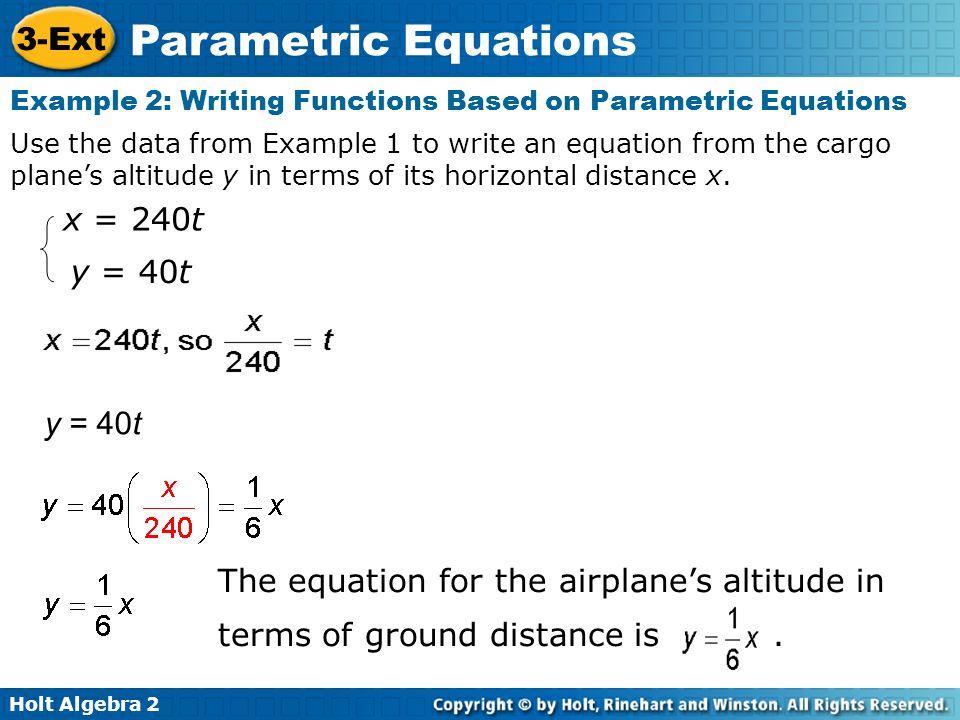 Holt Algebra 2 3-Ext Parametric Equations Graph parametric ...