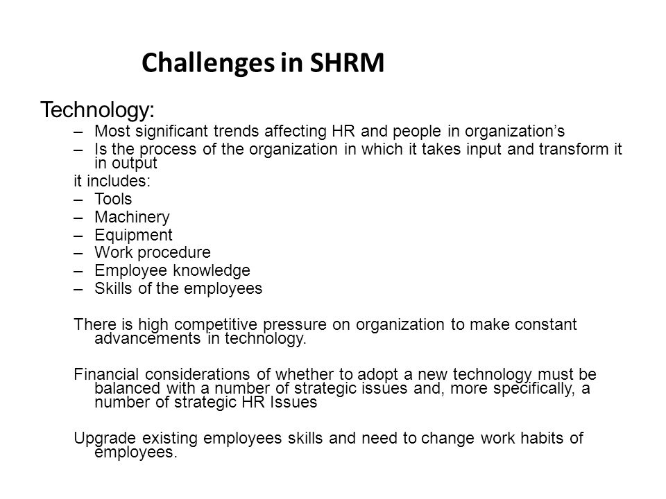 challenges in shrm