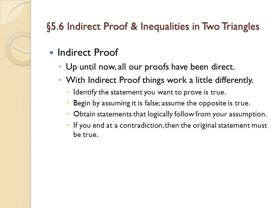 Friday November 9 2012 Agenda TISK No MM Lesson 56 Compare – Indirect Proof Worksheet