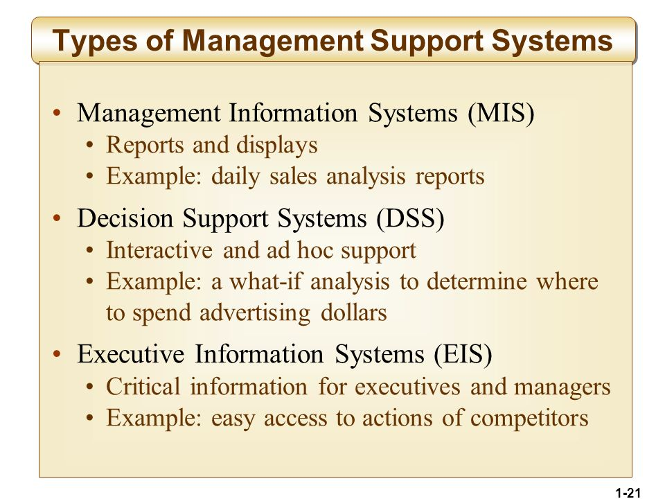 1-21 Types of Management Support Systems Management Information Systems (MIS) Reports and displays Example: daily sales analysis reports Decision Support Systems (DSS) Interactive and ad hoc support Example: a what-if analysis to determine where to spend advertising dollars Executive Information Systems (EIS) Critical information for executives and managers Example: easy access to actions of competitors