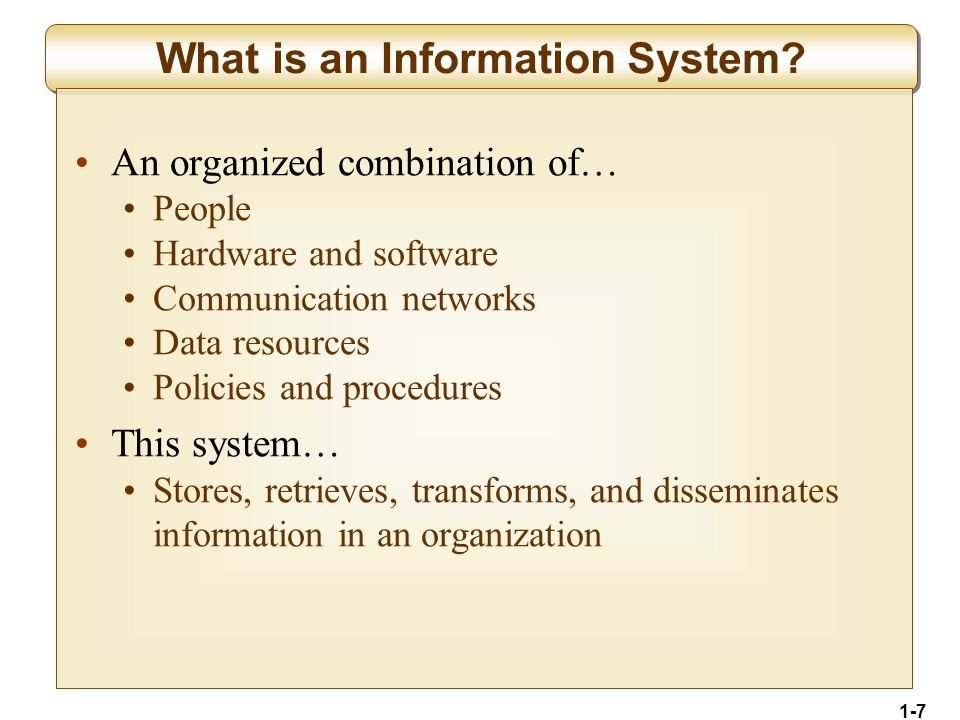 1-18 Types of Operations Support Systems Transaction Processing Systems Record and process business transactions Examples: sales processing, inventory systems, accounting systems Process Control Systems Monitor and control physical processes Example: using sensors to monitor chemical processes in a petroleum refinery Enterprise Collaboration Systems Enhance team and workgroup communication Examples: email, video conferencing