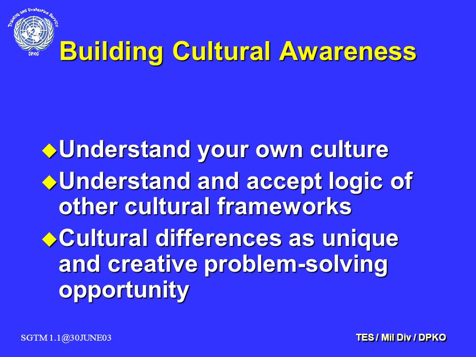 SGTM 1.1@30JUNE03 TES / Mil Div / DPKO Building Cultural Awareness u Understand your own culture u Understand and accept logic of other cultural frame