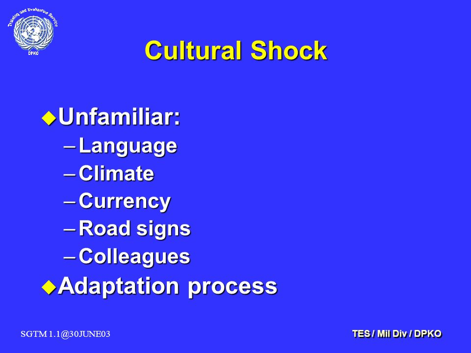 SGTM 1.1@30JUNE03 TES / Mil Div / DPKO Cultural Shock u Unfamiliar: –Language –Climate –Currency –Road signs –Colleagues u Adaptation process