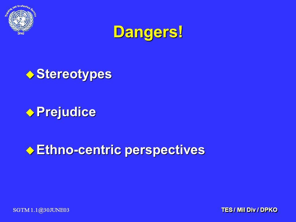 SGTM 1.1@30JUNE03 TES / Mil Div / DPKO Dangers.