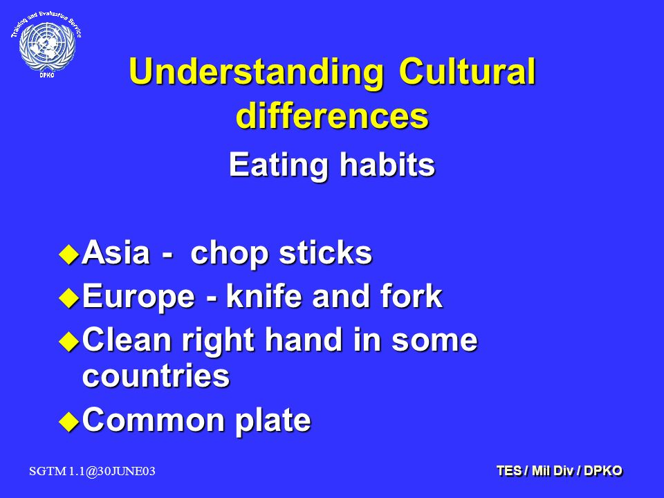 SGTM 1.1@30JUNE03 TES / Mil Div / DPKO Understanding Cultural differences Eating habits u Asia - chop sticks u Europe - knife and fork u Clean right hand in some countries u Common plate