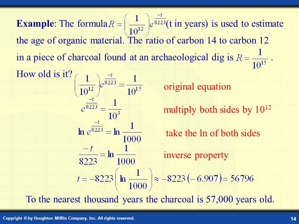 Carbon dating formula algebra