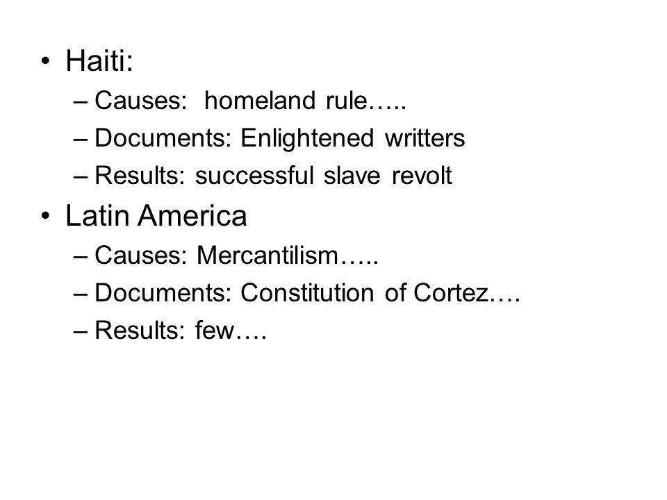 Haiti: –Causes: homeland rule…..