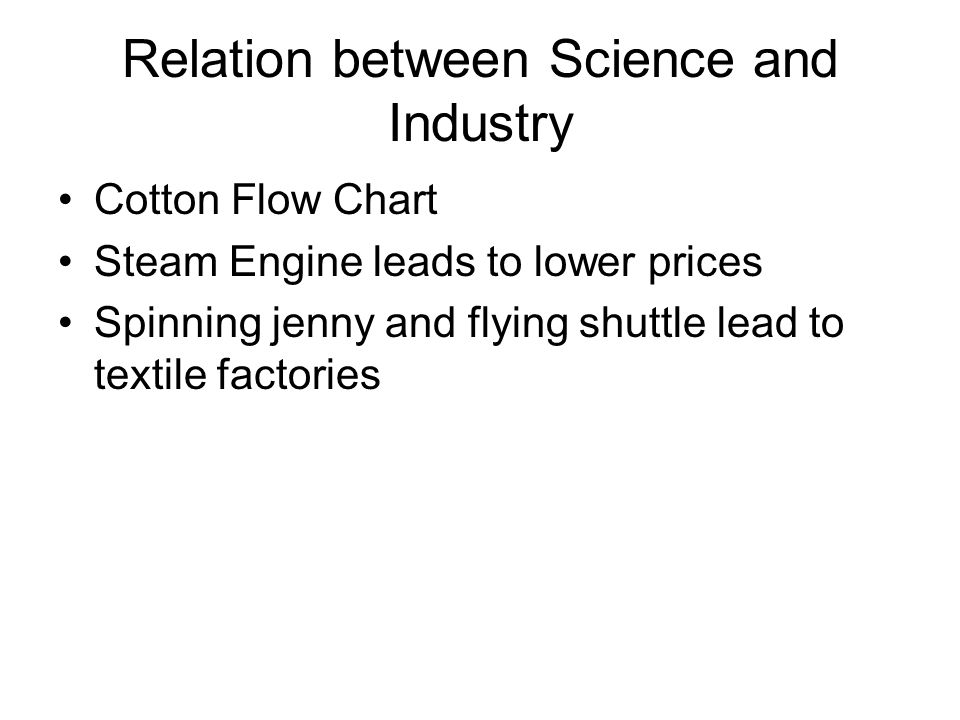 Relation between Science and Industry Cotton Flow Chart Steam Engine leads to lower prices Spinning jenny and flying shuttle lead to textile factories
