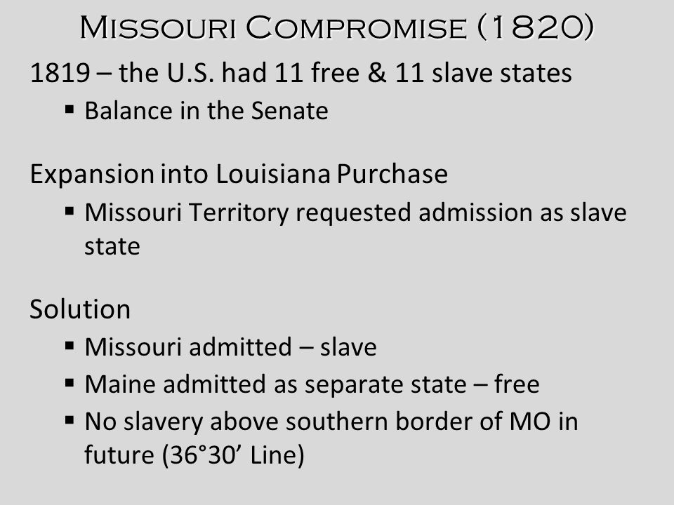 Differences Between The North And South Missouri Compromise - 1819 map of us free and slave states