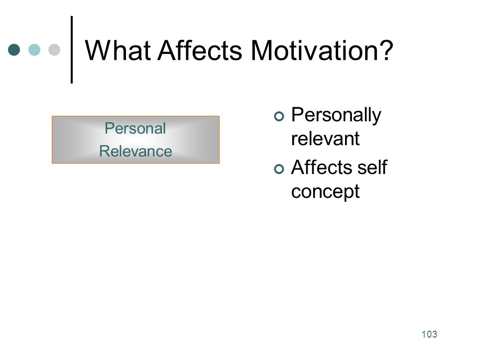 103 What Affects Motivation Personally relevant Affects self concept Personal Relevance