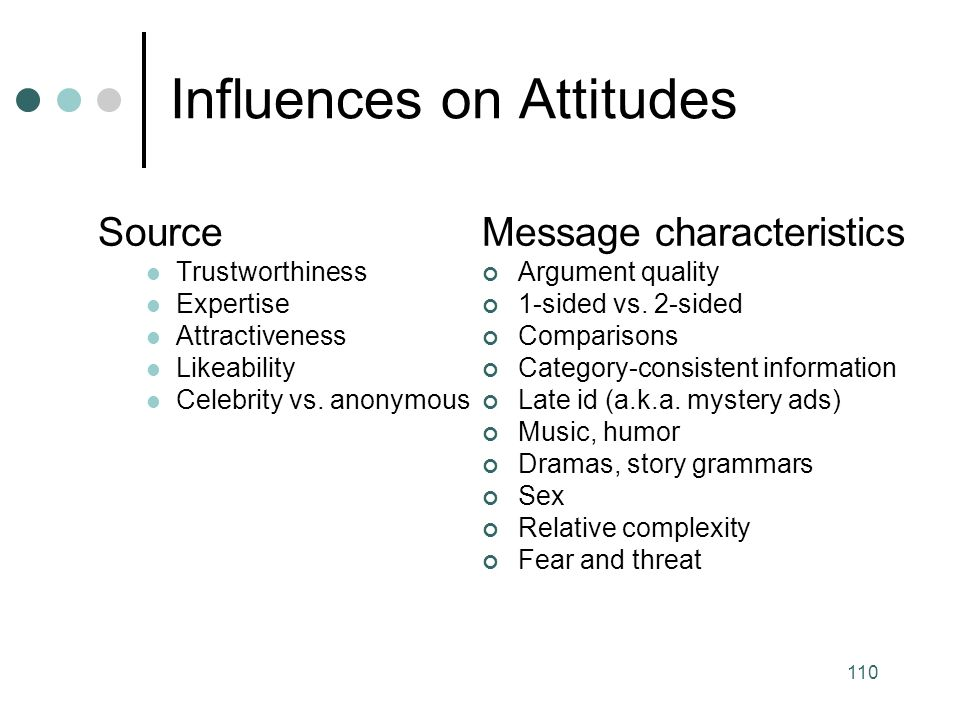 110 Influences on Attitudes Source Trustworthiness Expertise Attractiveness Likeability Celebrity vs.