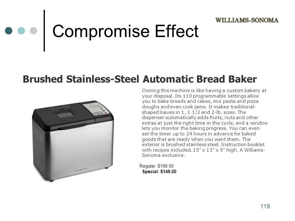 119 Compromise Effect Owning this machine is like having a custom bakery at your disposal.