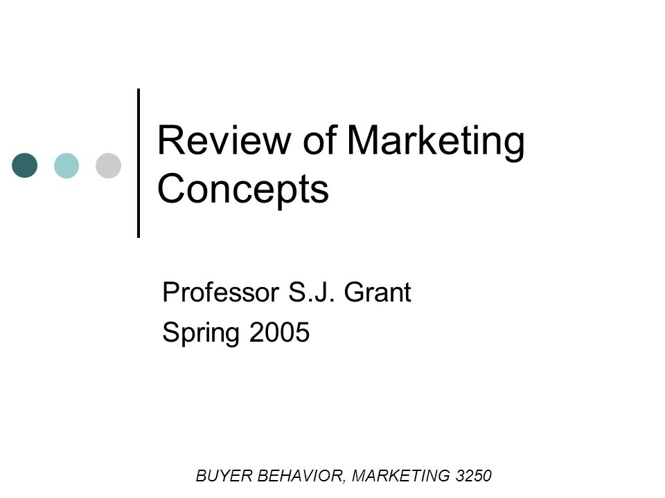 Review of Marketing Concepts Professor S.J. Grant Spring 2005 BUYER BEHAVIOR, MARKETING 3250