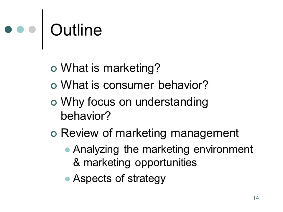 14 Outline What is marketing. What is consumer behavior.