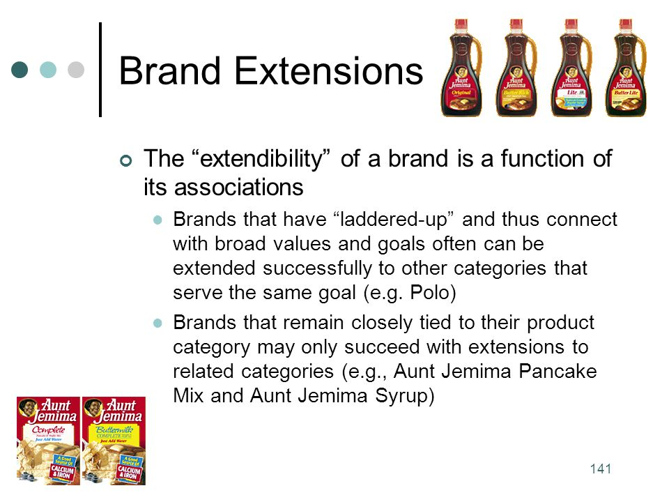 141 Brand Extensions The extendibility of a brand is a function of its associations Brands that have laddered-up and thus connect with broad values and goals often can be extended successfully to other categories that serve the same goal (e.g.