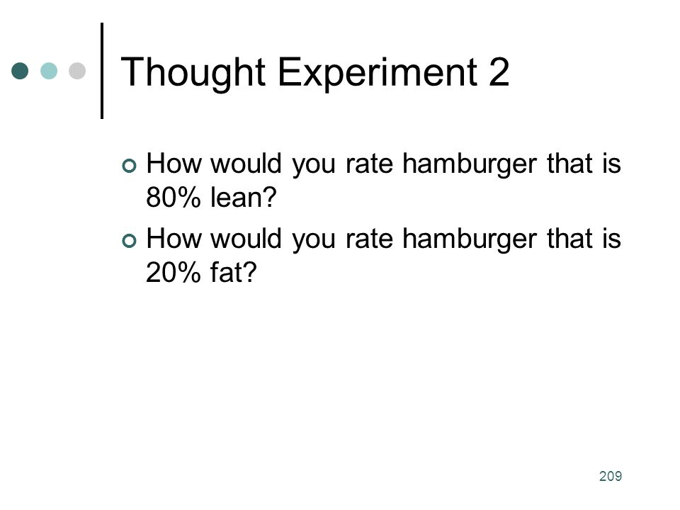 209 Thought Experiment 2 How would you rate hamburger that is 80% lean.