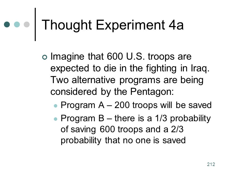 212 Thought Experiment 4a Imagine that 600 U.S. troops are expected to die in the fighting in Iraq.