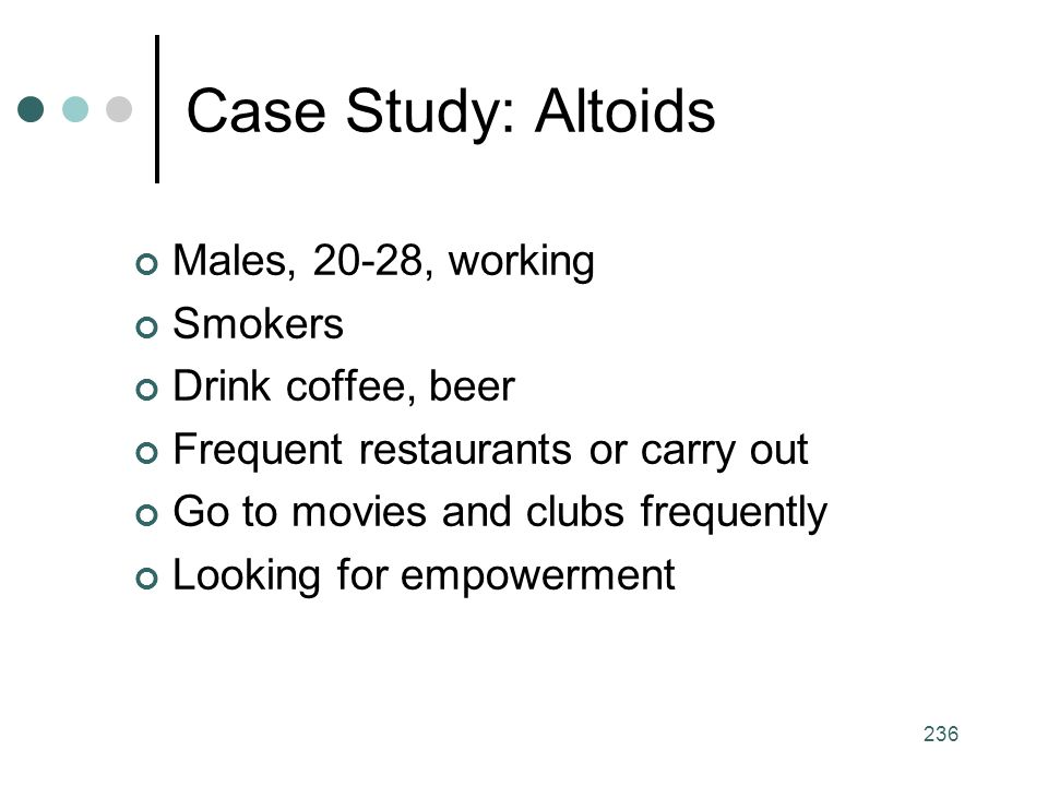 236 Males, 20-28, working Smokers Drink coffee, beer Frequent restaurants or carry out Go to movies and clubs frequently Looking for empowerment Case Study: Altoids
