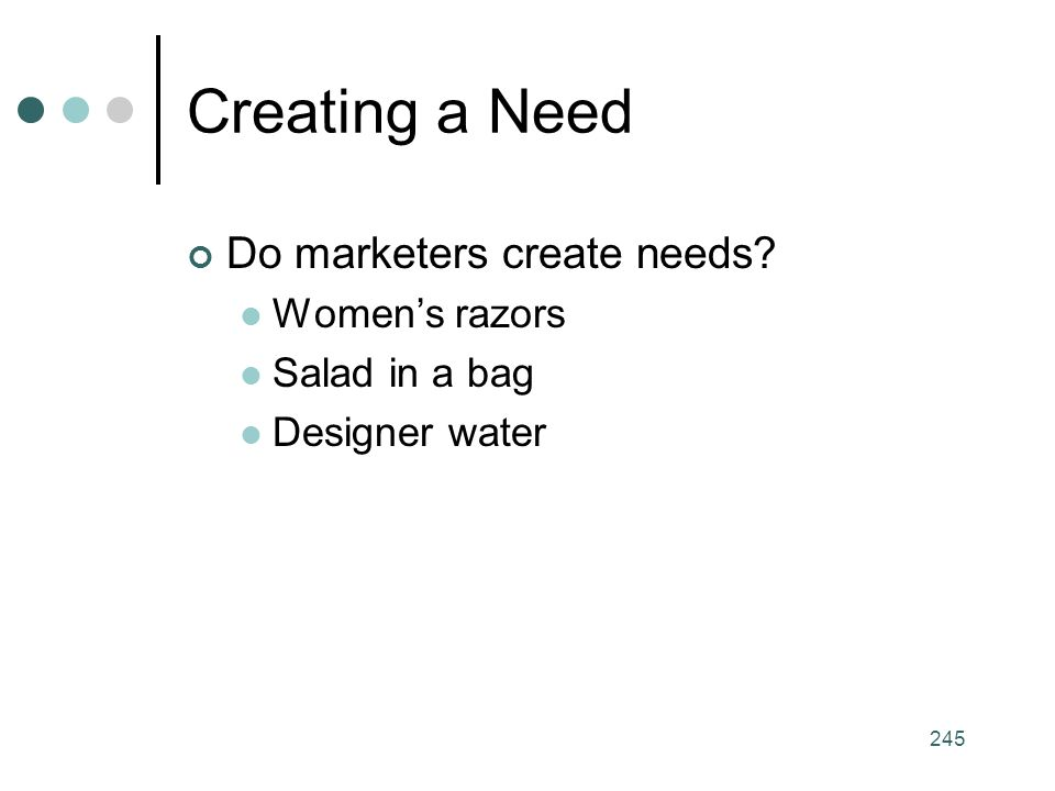 245 Creating a Need Do marketers create needs Women's razors Salad in a bag Designer water