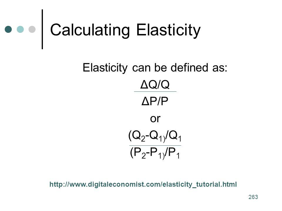 263 Calculating Elasticity Elasticity can be defined as: ΔQ/Q ΔP/P or (Q 2 -Q 1) /Q 1 (P 2 -P 1) /P 1 http://www.digitaleconomist.com/elasticity_tutorial.html