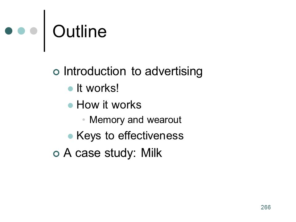 266 Outline Introduction to advertising It works.