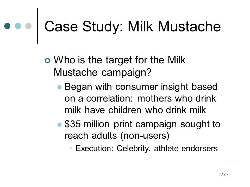 277 Case Study: Milk Mustache Who is the target for the Milk Mustache campaign.