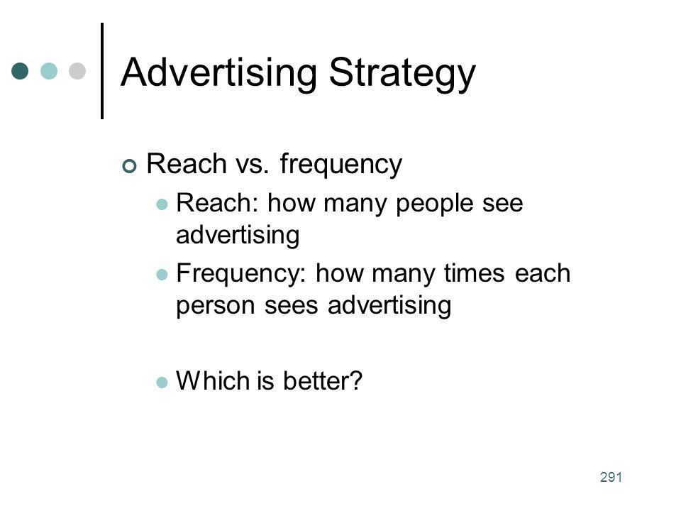 291 Advertising Strategy Reach vs.
