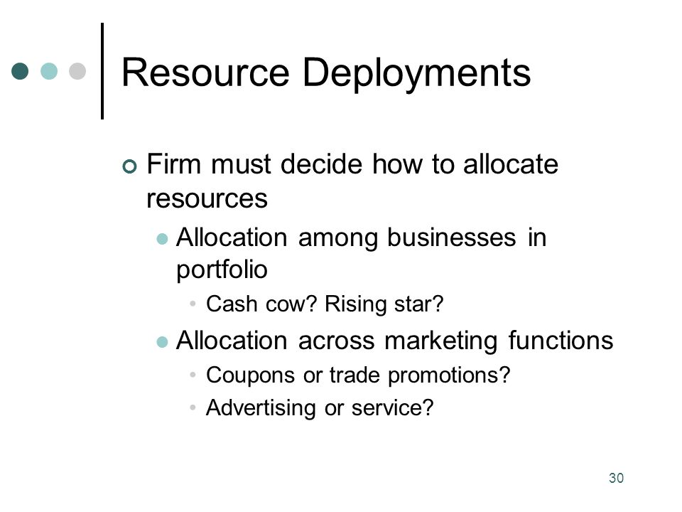 30 Resource Deployments Firm must decide how to allocate resources Allocation among businesses in portfolio Cash cow.