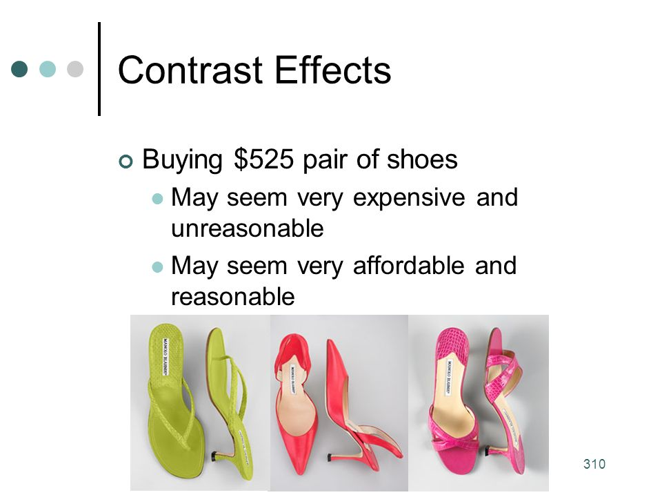 310 Contrast Effects Buying $525 pair of shoes May seem very expensive and unreasonable May seem very affordable and reasonable